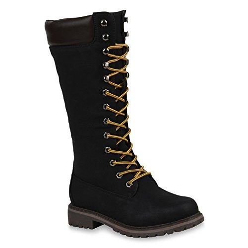 Damen Worker Boots Warm Gefütterte Stiefel Outdoor Schuhe 151274 Schwarz Black Agueda 39 Flandell