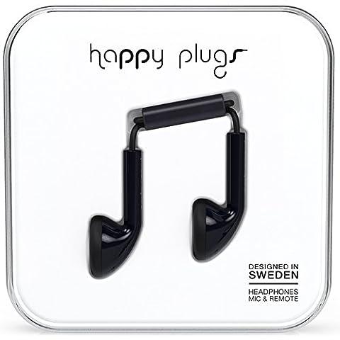 Happy Plugs Earbud - Auriculares de botón (3.5 mm, micrófono incluido, 10 mW), color negro