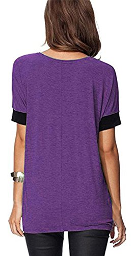 ELFIN® Frauen Damen T-Shirt Rundhals Kurzarm Ladies Sommer Casual Oberteil  Locker Bluse Tops ...