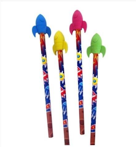 """4 Bleistifte mit Raketen Radiergummis aus der Serie """"Weltraum Expedition"""""""