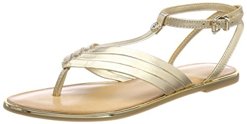 Tommy Hilfiger Damen Metallic Flat T-Bar Sandal T-Spangen, Gold (Mekong 709), 40 EU (Gold-leder Sandalen)