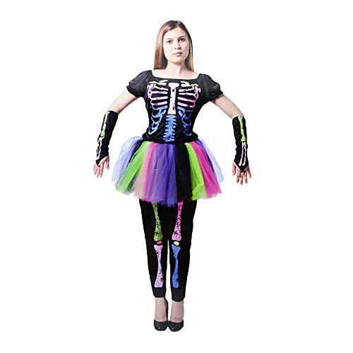 Spring Tide Familien-Halloween-Kostüm Regenbogen Skelett Kostüm Maskerade Kostüm Erwachsenes Kind Horror Halloween Cosplay,3,L (Kostüme Familie Für Halloween 3)