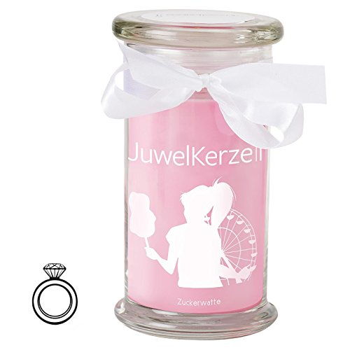 JuwelKerze Zuckerwatte - Kerze im Glas mit Schmuck - Große rosane Duftkerze mit Überraschung als Geschenk für Sie (Silber Ring, Brenndauer: 90-120 Stunden)(L)