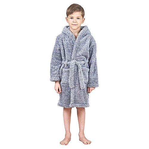 Anna King Bademantel Kinder, Fleece Bademantel mit Kapuze Morgenmantel für Jungen und Mädchen hochwertiger weicher Flauschiger Kinderbademantel 7Y