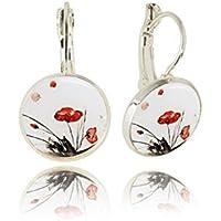 Roter Mohn, Weiße Baumeln Ohrringe-Geschenk für Sie