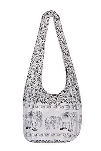 THAI HIPPIE BAG - ELEPHANT - 100% COTTON BOHO GYPSY SLING PURSE - BEACH TRAVEL SHOULDER BAG (White) (Purse Bag Beach)