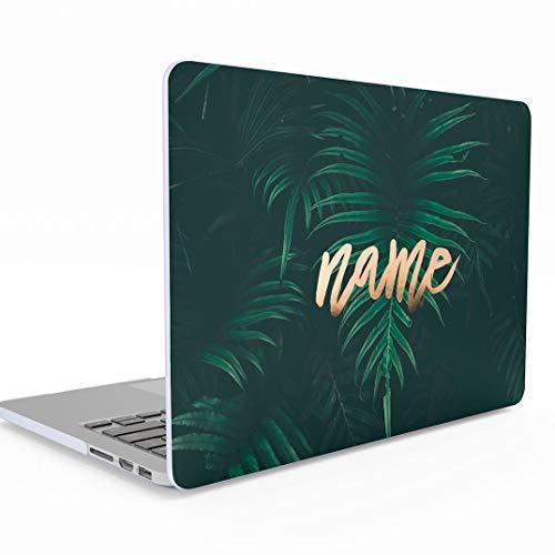 Personalisierte Schützhülle Grün Palme Palmen Tropisch Green Palm Leaf Zitat Name Custom für MacBook Pro 15 Zoll with Touch Bar Model: A1707 / A1990 Release 2016-2018 Schütz Hülle Hard Case Cover