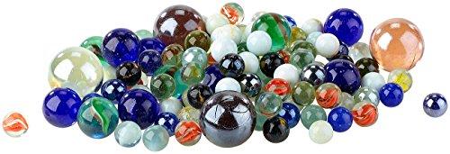 Playtastic Glasmurmeln: Mega-Murmelpaket mit 1 kg Murmeln in verschiedenen Farben, 15 - 32 mm (Murmel)