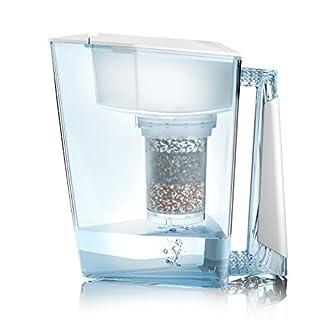 Wasserfilter MAUNAWAI® Premium Bio Made in Germany inkl. 1 Trinkwasserkanne +1 Filterkatusche und Filterpad (für 3 Monate) - Weiß, Trinkwasserfilter + Filterkanne