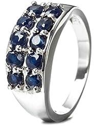 - - anillo Silvancé Mujeres de 925 plata de ley - genuino de color azul zafiro - R3388BSap