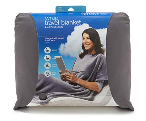 travelrest 4-in1 Premier Class Travel Blanket with Pocket - Covers Shoulders - Soft and Luxurious - Won't Slip Down (Grey)