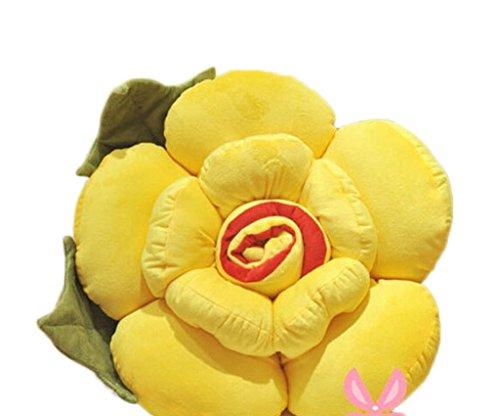 Bigood Coussin Peluche Oreiller Forme Fleur Jouet Fantaisie Décor Salon Jaune Hauteur 40cm