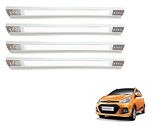 Auto Hub Rubber Car Bumper Guard Protector For Hyundai Grand i10 - White (Chrome Finish)  available at amazon for Rs.399