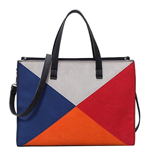 Frauen Farbe Matt Crossbody Große Kapazität Schulranzen Handtaschen Blau Black