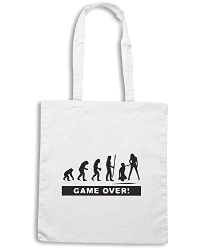 T-Shirtshock - Borsa Shopping BEER0215 evolution-addio-al-celibato-T-shirt Bianco