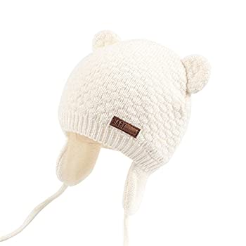 Unisex - Baby Mütze Beanie Strickmütze Unifarbe Wintermütze JOYORUN Weiß M