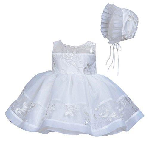 Happy Cherry Baby Taufkleid Geschenk Set für Babymädchen Kleid & Mütze Gr.6 für die Körpergröße 62-68cm(3-6 Monate) - Weiß