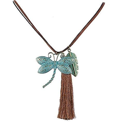 Gudeke Vintage Doppel- Strang-Halskette mit Libelle und Feder Form Garn Troddel Quaste Anhänger Leder Seil Kupferlegierung für (Halskette Doppel-strang-halskette)