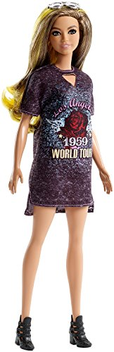 Barbie Fashionista, muñeca 32cm con Look de Estrella de Rock glamurosa (Mattel FJF47)
