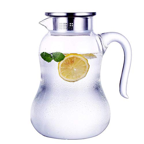 70 Ounces Carafe Glass Pitcher mit Lid Hot/Cold Water Carafe-Juice Jar und Iced Tea Pitcher-Glass Water Pitcher Glass Fridge Carafe Ice Tea Maker Iced Carafe