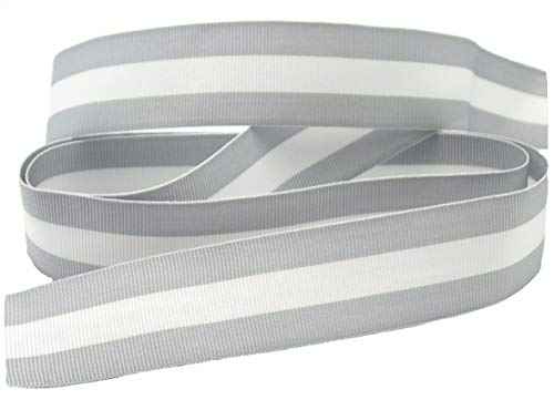 Streifenband, 24mm breit, Streifen, farbig, Ripsband, nähen, Meterware, 1 Meter (grau) (Ripsband 1)
