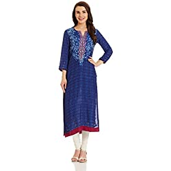 BIBA Women's Straight Kurta (INDIGO12677_blue_small)