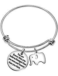 2051f1159bd7 AGR8T Las mejores pulseras de brazalete de amigo You Are Braver Stronger  Smarter Than You Think