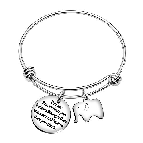 Pulsera brazalete de mejores amigos, con bonito elefante e inscripción en inglés 'You're braver stronger smarter than you think', regalo para familiares y amigos