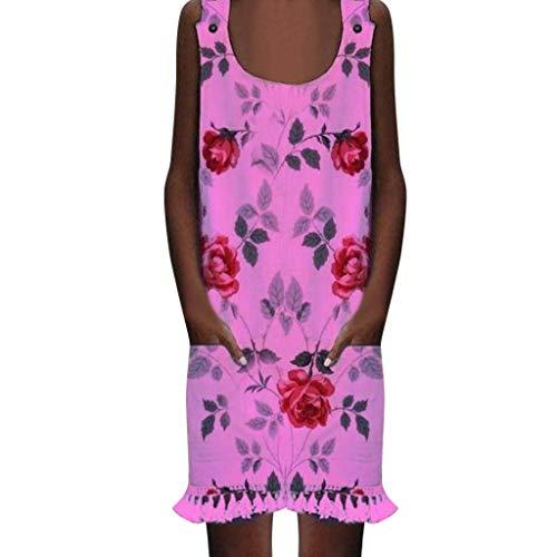 TUDUZ Vestidos Delgados De Las Mujeres Bolsillos Casuales Imprimir Vestidos Maxi De Playa (Rosa Caliente, L)