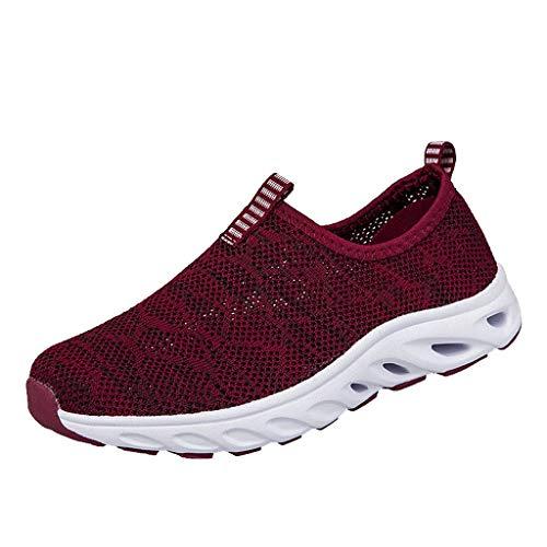 Fenverk Herren Damen Laufschuhe Atmungsaktiv Turnschuhe SchnüRer Sportschuhe Sneaker Fitness Leicht rutschfeste(Red,39 EU)