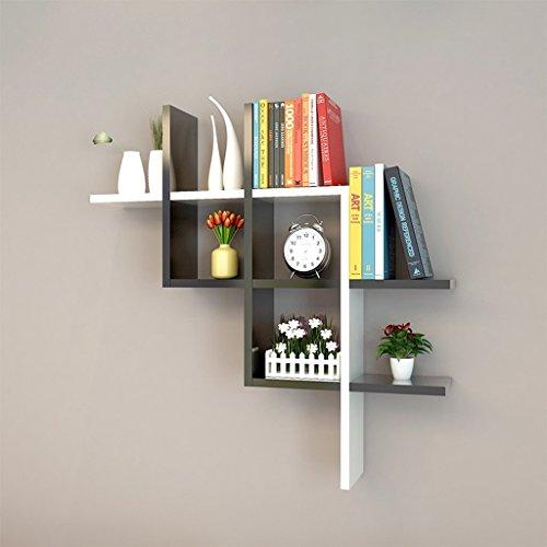 GRY Einfache moderne Bücherregal Partition Regal Hintergrund Wand dekorative Frame Wall Plank Holz kreative Plaid Wallboard,Schwarz-Weiss (Plank Holz)