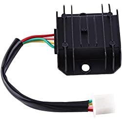 Regulador de voltaje de la motocicleta 4 cables 4 pines 12 regulador de voltaje rectificador para 150-250CC motocicleta ciclomotor ATV(Negro)
