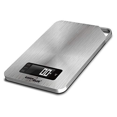 Green Blue GB170 Digitale Küchenwaage Edelstahl mit Timer Digitalwaage Elektronische Waage bis 5kg min 1g Tara-Funktion, Silver