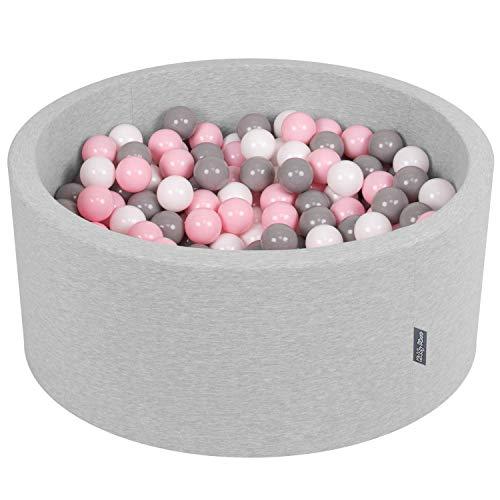 KiddyMoon 90X40cm/300 Bälle ∅ 7Cm Bällebad Baby Spielbad Mit Bunten Bällen Rund Made In EU, Hellgrau:Weiß/Grau/Rosa