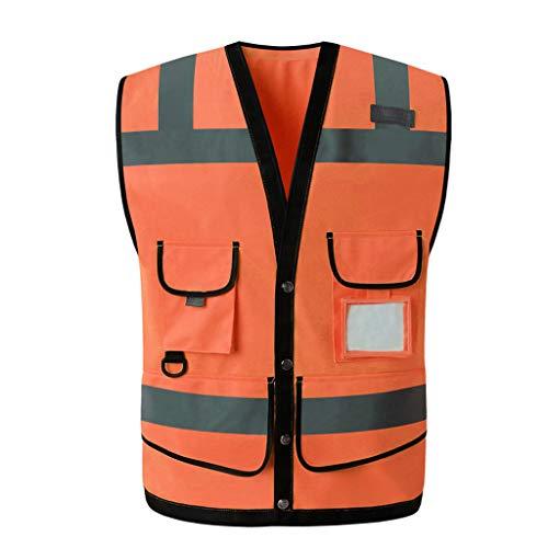 Zyj stores-Sichtweste Reflektierende Weste Multi-Tasche Verkehrssicherheit Schutzweste Verkehr Fluoreszierende Warnkleidung (Color : Orange, Größe : L)