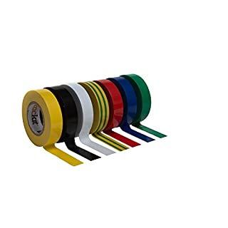 Brackit Insulated Vinyl Electrical 7 Color Coding PVC Tape, Black, Yellow, Yellow/Blue Stripe, White, Red, Green, Blue, 17MM x 15M