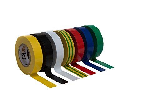 Isolierband bunt 7er Set 20mm 15m Elektriker Klebeband Isoband schwarz rot weiß gelb blau grün gestreift selbstklebend Tape zum Isolieren Elektrik
