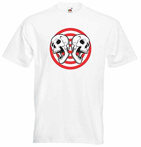 T-Shirt D806 T-Shirt Herren schwarz mit farbigem Brustaufdruck - Design Tribal Comic / abstrakte Grafik / Schädel Totenkopf gespiegelt auf Kreis Weiß