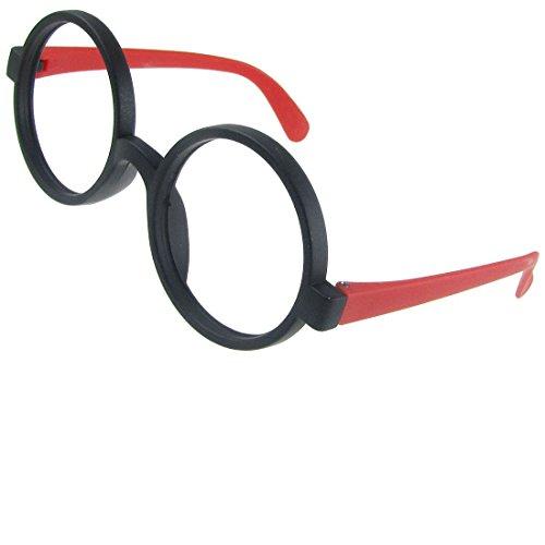 Lady Kunststoff Schwarz Rund Felgen Red Arme Brille Brillenfassung