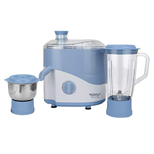 Maharaja Whiteline Jmg Odacio 500-Watt Juicer Mixer Grinder with 2 Jars (Blue/White)