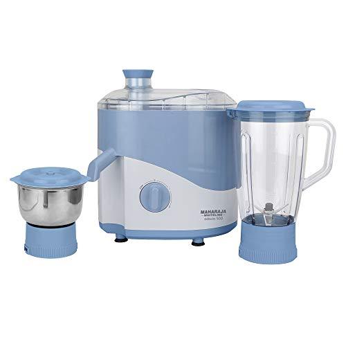 Maharaja Whiteline Jmg Odacio 500-Watt Juicer Mixer Grinder with 2 Jars (Blue/White)