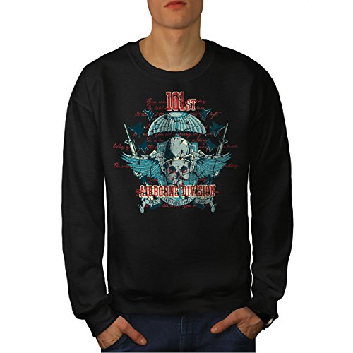 wellcoda Airborne Aufteilung Schädel Männer Sweatshirt Krieg Lässiger Pullover Airborne Sweatshirt