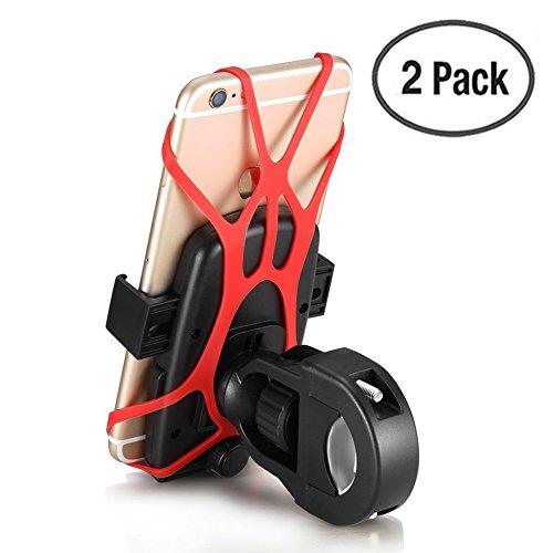 Yugee® 【Lot de 2 PCS】Version 2016 Universel Support Guidon de vélo, moto, VTT pour GPS, téléphone portable Multifonction avec rotation à 360° Fixation Guidon, Pince Robuste+Sangle en Silicone,bouton de verrouillage, ZERO CHUTE TELEPHONE GARANTIE pour iPhone 6/ 6 Plus/ 5S /5C /4 /4S /Samsung Galaxy S5/S4/S3/Note 4 /3, Nexus & Autre Smartphone GPS etc.