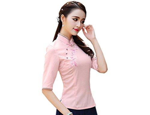 ACVIP Damen Fünf Punkten Ärmel Stehtkragen Einfach Chinesische Art Cheongsam Bluse Pink