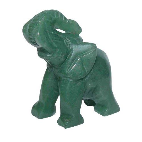 Aventurin grün Elefant ca. 30 x 43 mm aus echtem Edelstein mit Rüssel nach oben Glücksbringer.(3188)