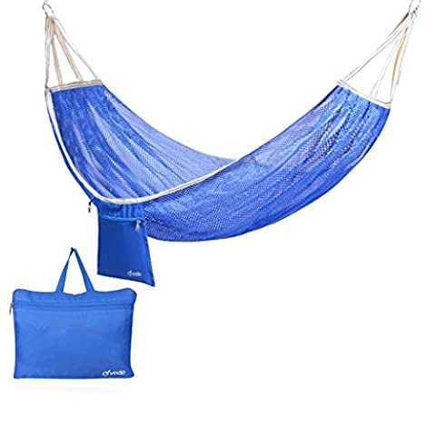DGF Outdoor Eis Seide Hängematte Kreative Casual Camping Hängematte 195 Cm * 125 Cm - (drei Farben optional) ( Farbe : Blau )