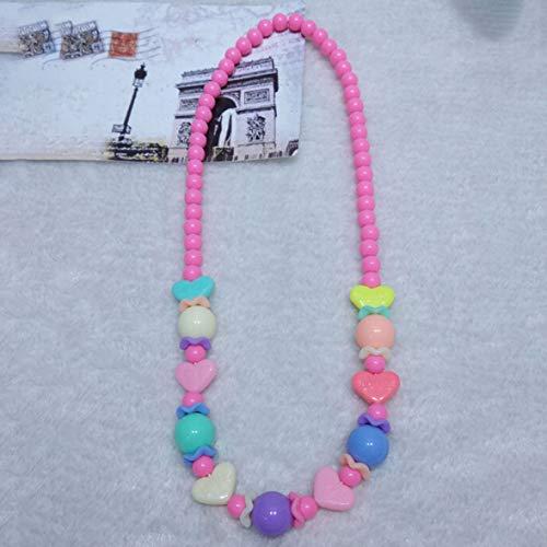 ZuanYin glaubwürdig 1Pcs Heart Children Acryl Halskette Kids Girls Geschenke Großhandel Mädchen Perlen Halskette Schmuck(None Pink.)