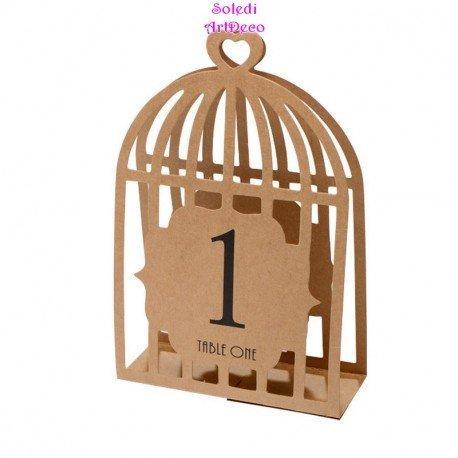 Lot DE 15 Marque Places numérotés, Volière Couleur Cartonné Kraft, Cage à Oiseaux 17 cm