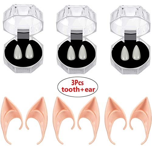 Von Zähne Kostüm Veneers - MCSSBZ 3 Paare Vampir Zähne und 3 Paare Elfen Ohren Halloween Cosplay Requisiten Kostüm Zubehör