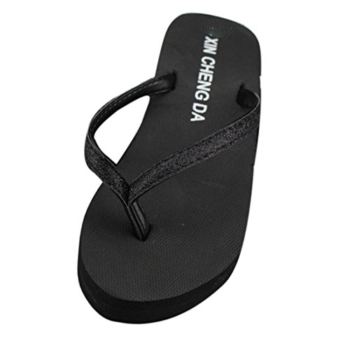 Malloom® Sandalen, Sommer Frauen-Plattform-Flipflops-Zapfen-Wedge-Strand-Sandelholz-Schuhe Schwarz-2